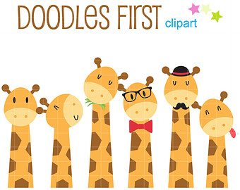 Cute Giraffes Clip Art for Scrapbooking Card Making Cupcake Toppers Paper  Crafts