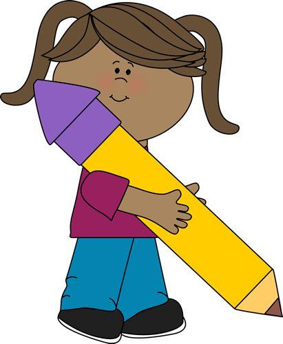Cute Girl Clip Art | Girl Holding a Big Yellow Pencil Clip Art - Girl Holding