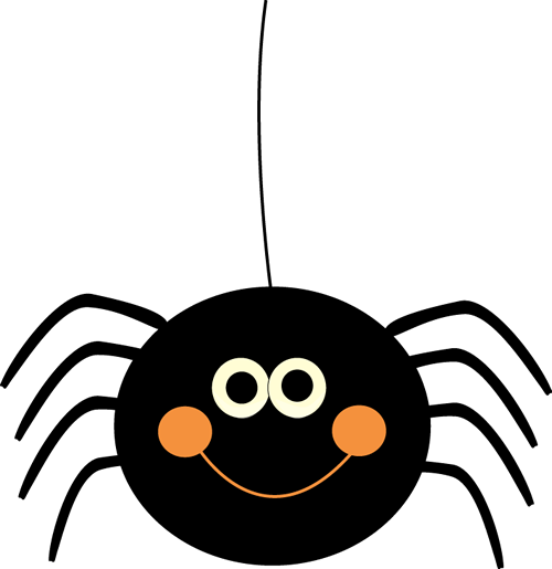 Cute Hanging Halloween Spider - Clipart Halloween