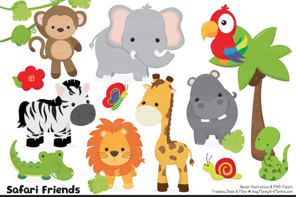 Cute Jungle Animal Clipart .