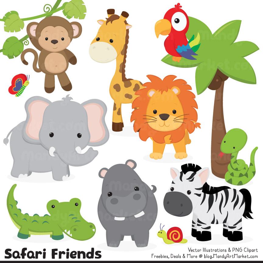 Cute Jungle Animals Clipart