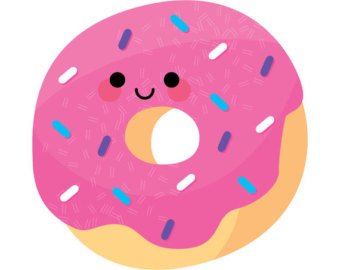 Cute Kawaii Yummy Doughnut Illustr ation Art Print for Kids and Adults .