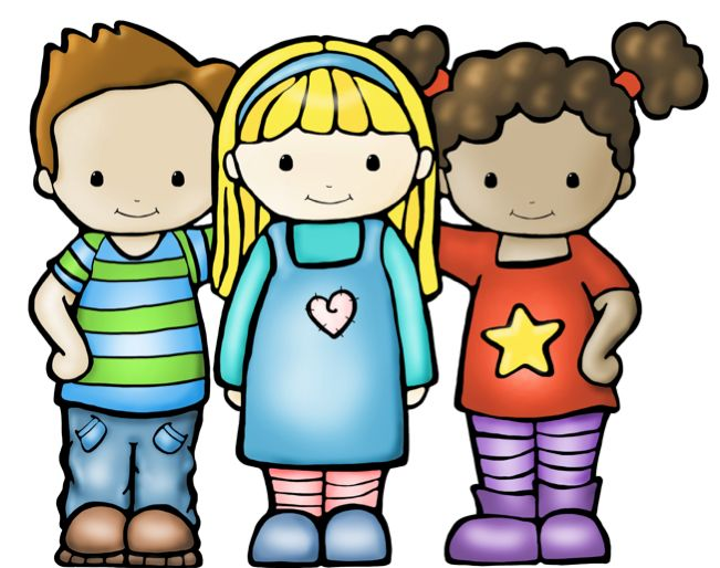 Cute kid clipart boys and girls together on holly