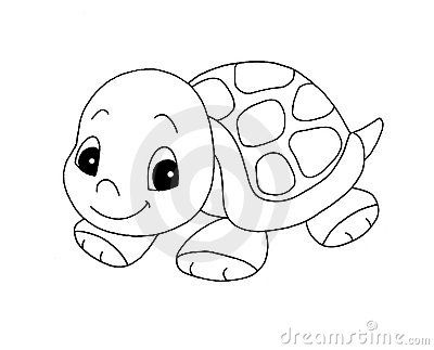 cute little girl turtle clip art | Black And White - Cute Turtle Royalty Free Stock
