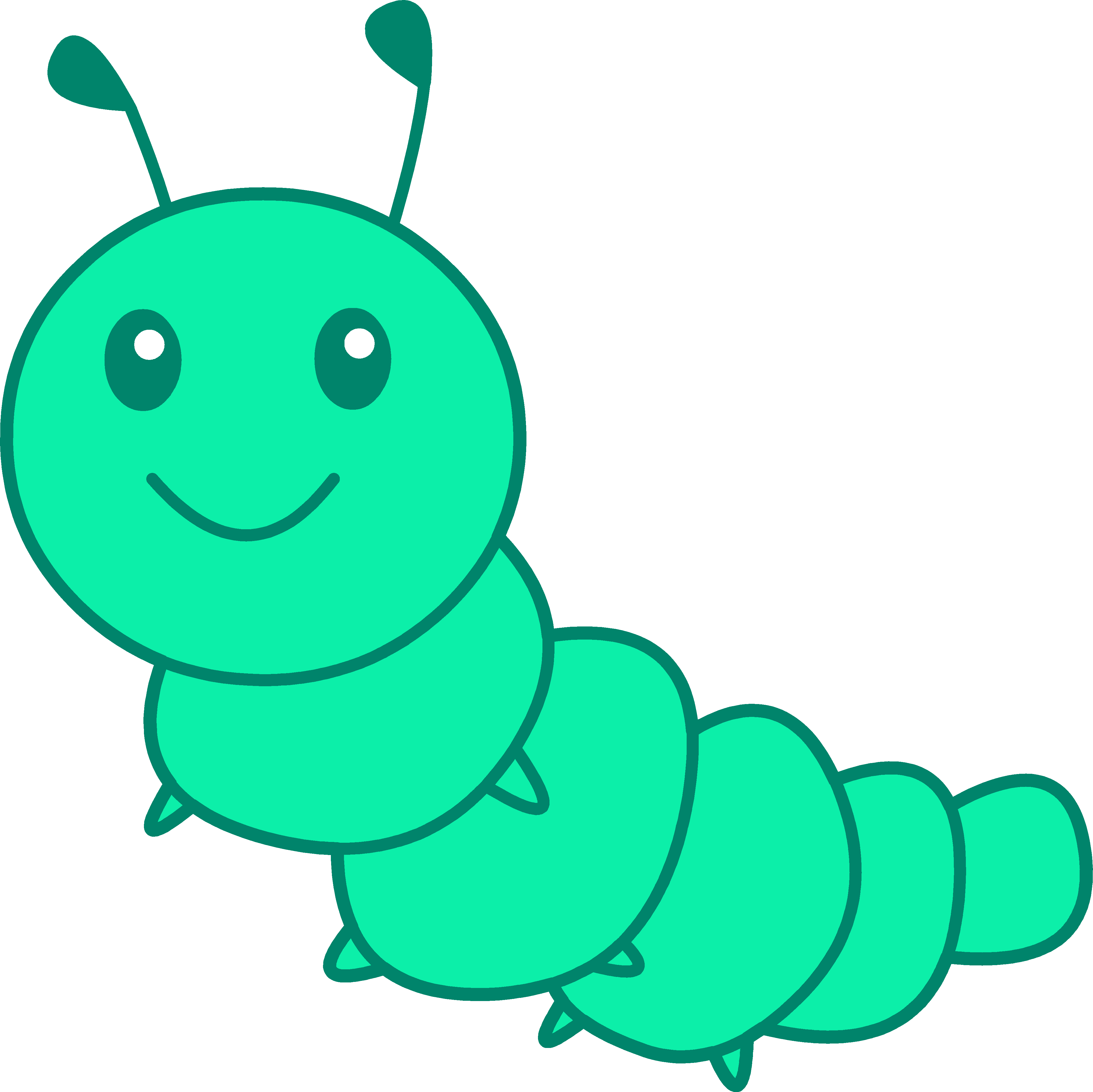 Cute Little Green Caterpillar - Free Clip Art