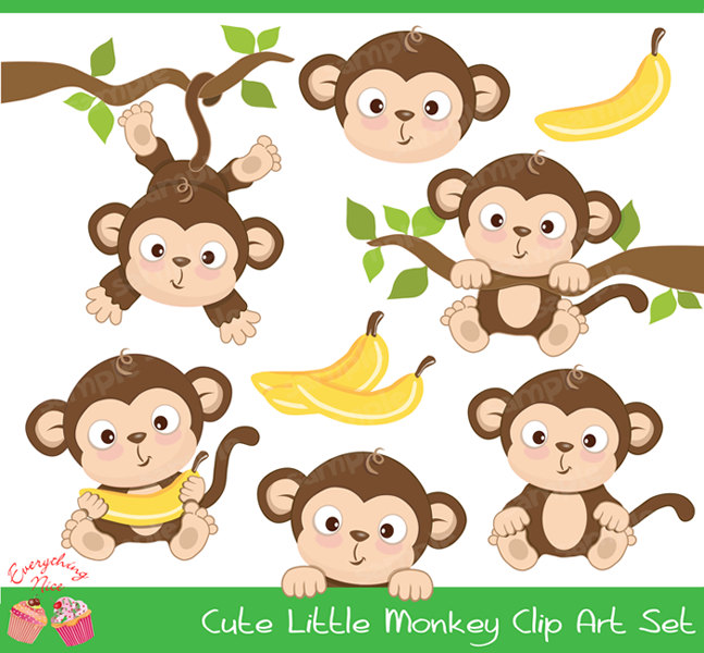 Cute Little Monkey Clipart Set-Cute Little Monkey Clipart Set-4