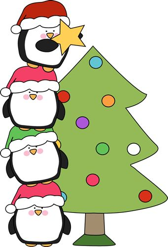 Cute little penguins trying to put a star on a tree. Of all the Christmas