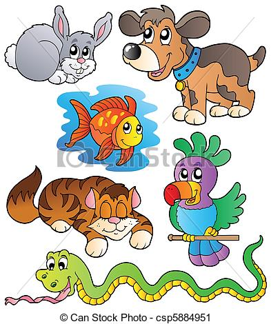 Cute lurking pets Clipartby clairev8/968; Happy pets collection 1 - vector illustration.