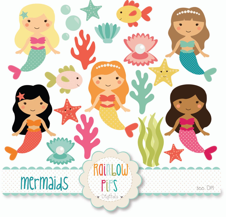 Cute Mermaid Clipart-Cute Mermaid Clipart-1