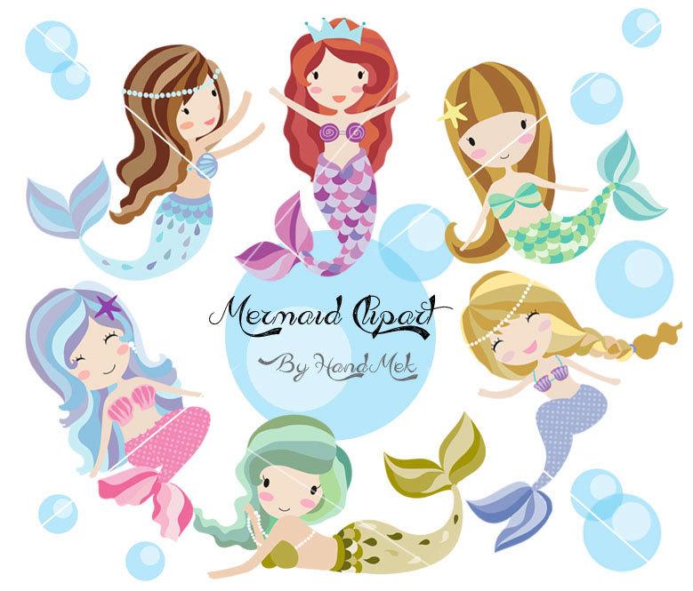 Cute Mermaid Clipart, Mermaid Clipart PN-Cute Mermaid Clipart, Mermaid clipart PNG file-300 dpi.-2