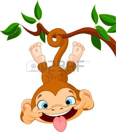 cute monkey: Cute baby monkey hamming on a tree Perfect for April Fools
