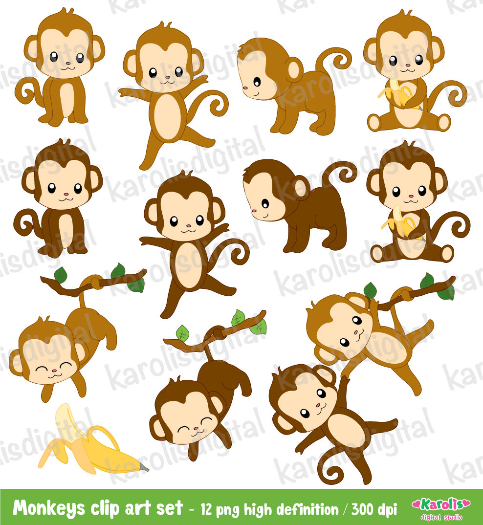 Cute Monkeys Digital Clip Art Set Personal By Karolisdigital