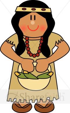 Cute Native American Woman Thanksgiving -Cute Native American Woman Thanksgiving Clipart-1