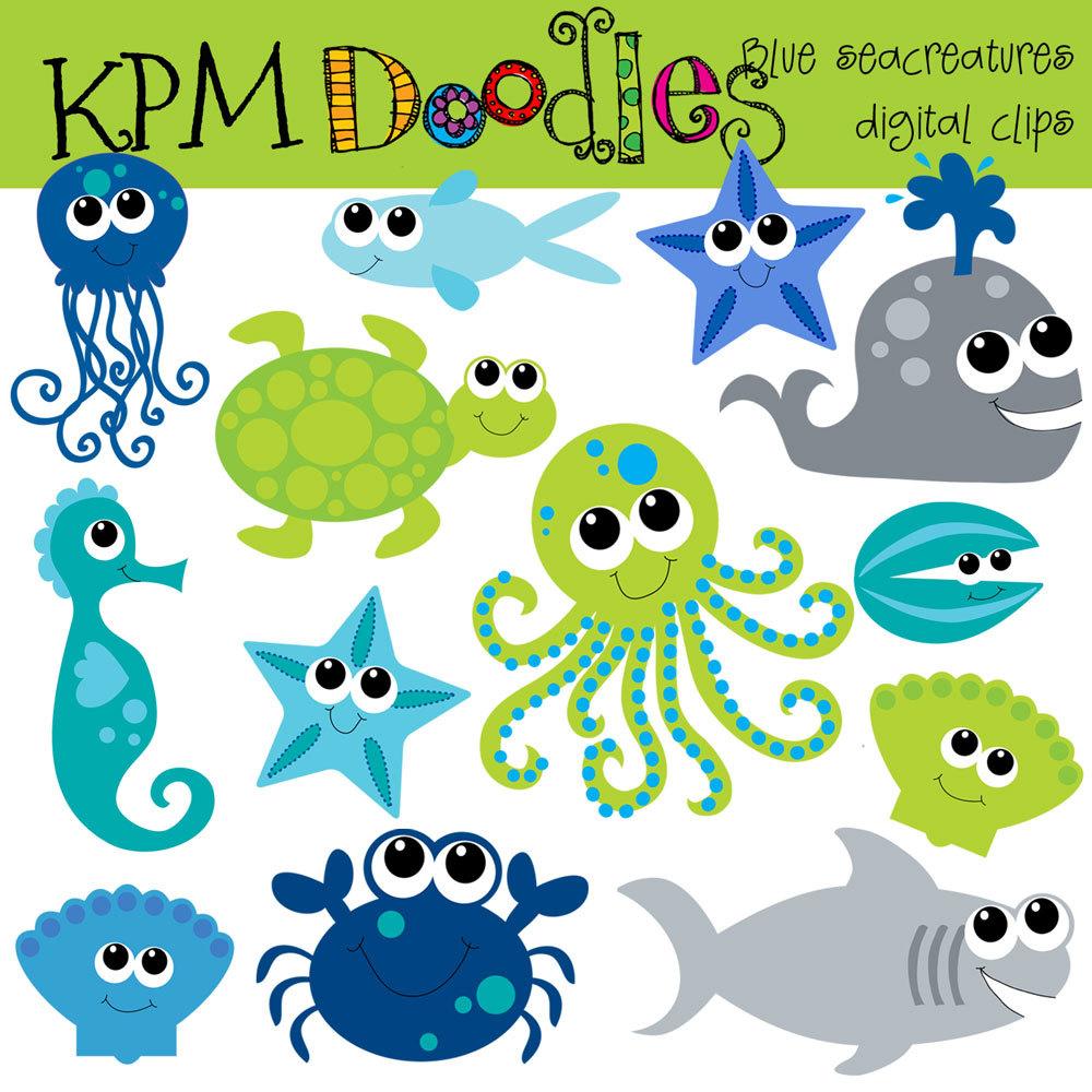 Cute Ocean Animal Clipart - .-Cute ocean animal clipart - .-4