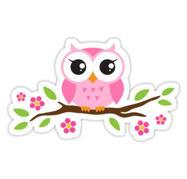 Cute Owl Stickers. Pink Owl On A Branch -Cute owl stickers. Pink owl on a branch with leaves and flowers.-3