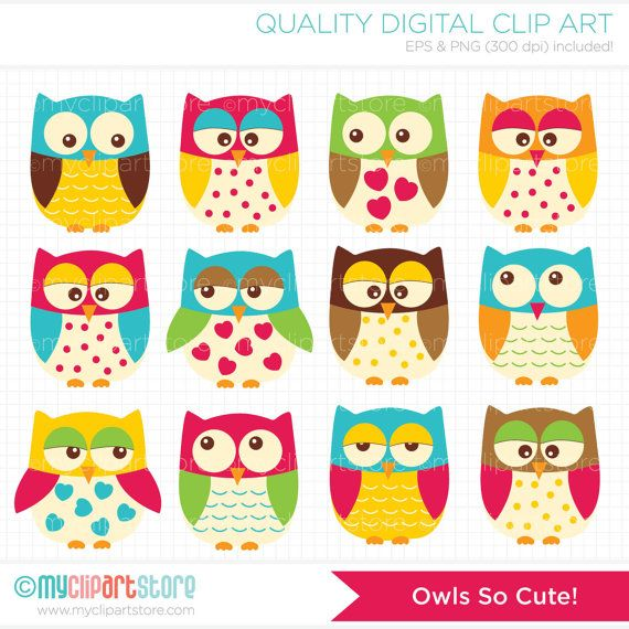 Cute Owls Clip Art / Digital Clipart - Instant Download on Etsy, $3.99