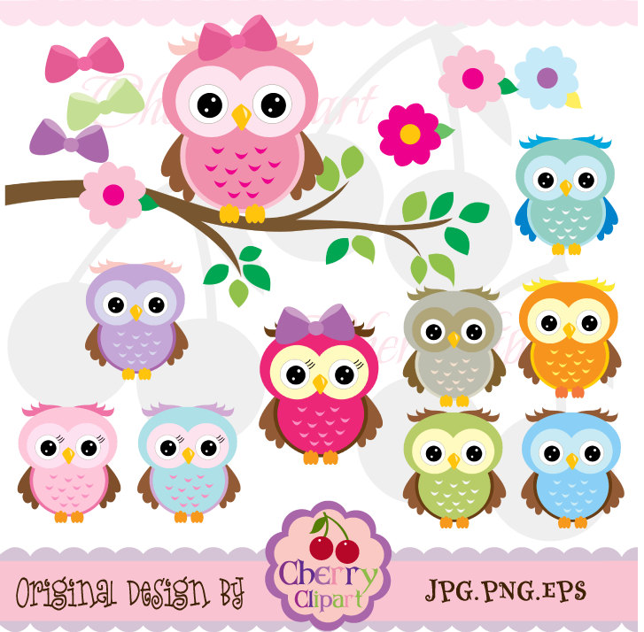 Cute Owls Digital Clipart Elements Set N-Cute Owls Digital Clipart Elements Set NO.AN021-7