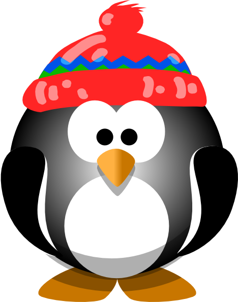 Cute Penguin With Hat Clip Ar - Cute Penguin Clipart