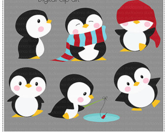 Cute Penguins Cliparts Vol 3  - Cute Penguin Clipart
