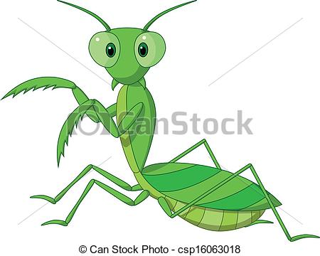 ... Cute praying mantis cartoon - Vector illustration of Cute.