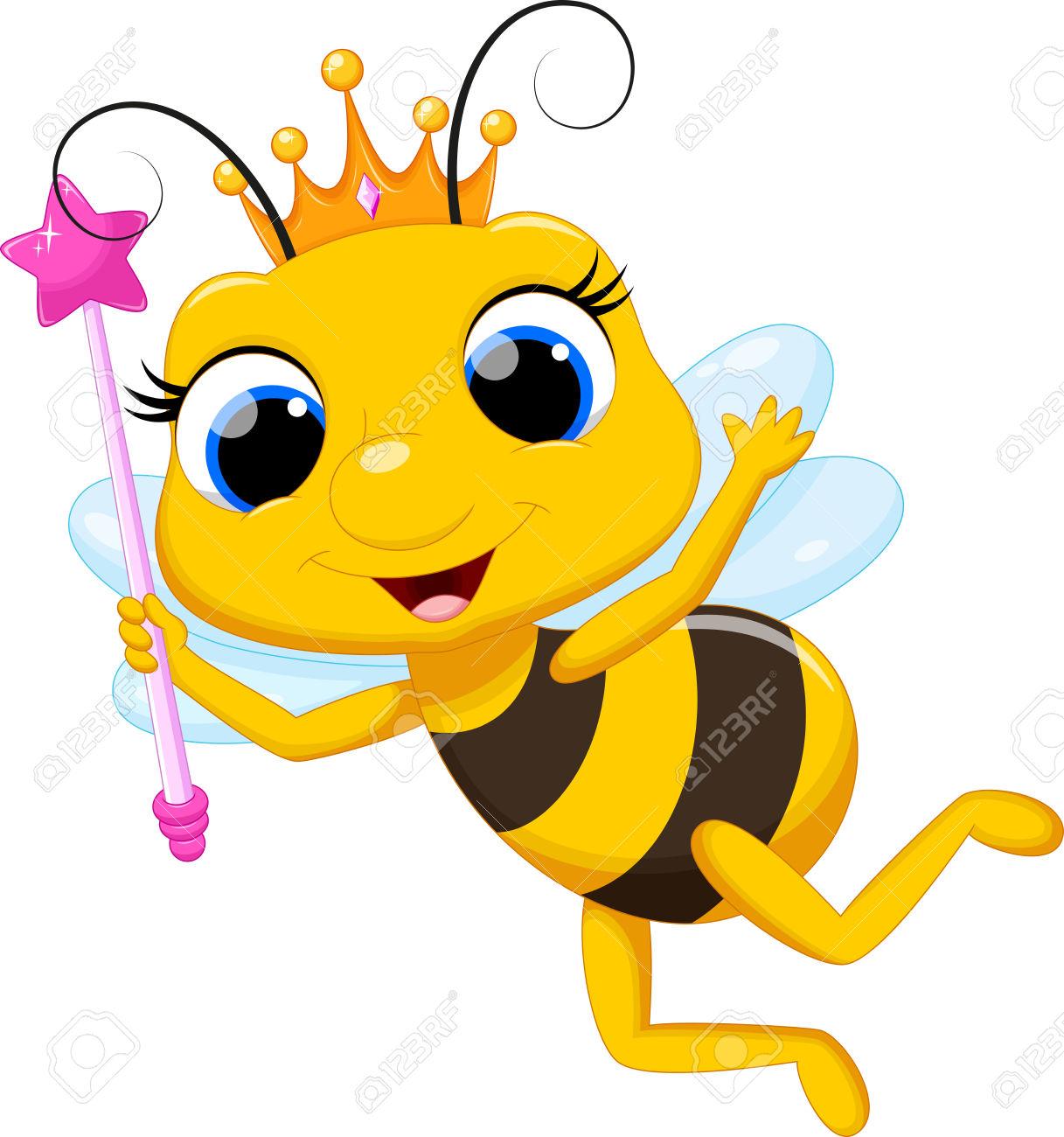 Cute queen bee cartoon Stock .