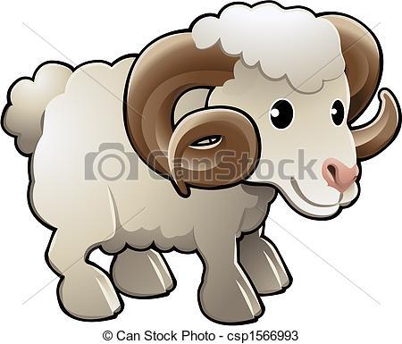 ... Cute Ram Sheep Farm Animal Vector Illustration - A cute ram.