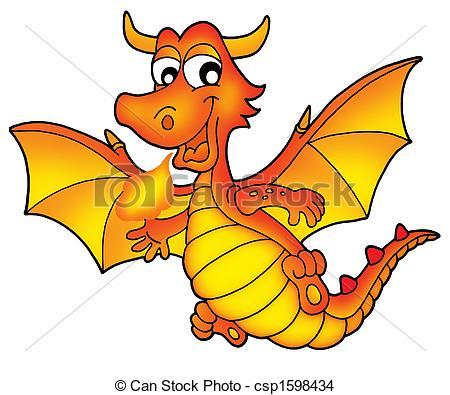 ... Cute red dragon - color illustration.