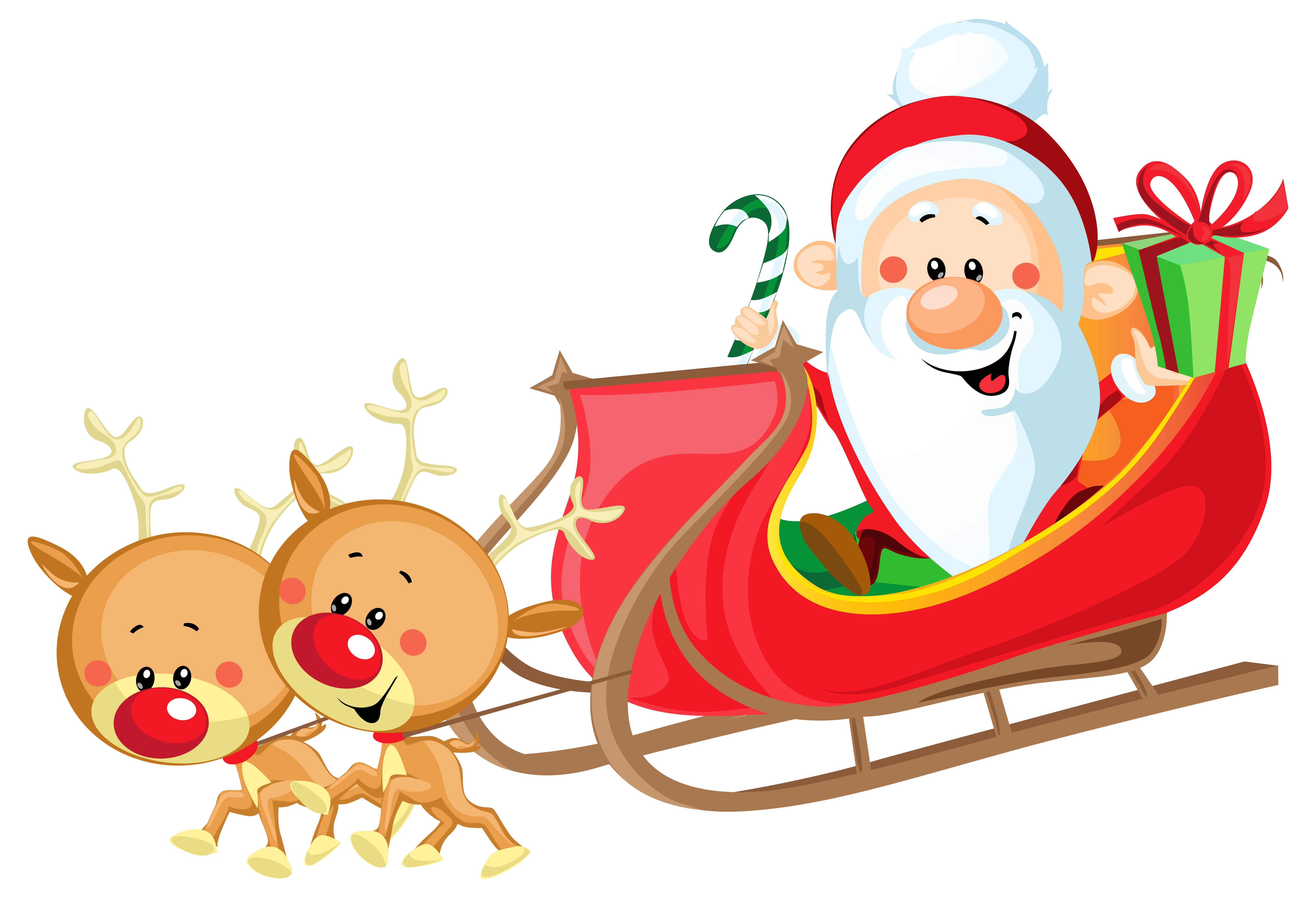 Cute Santa with Sleigh PNG .