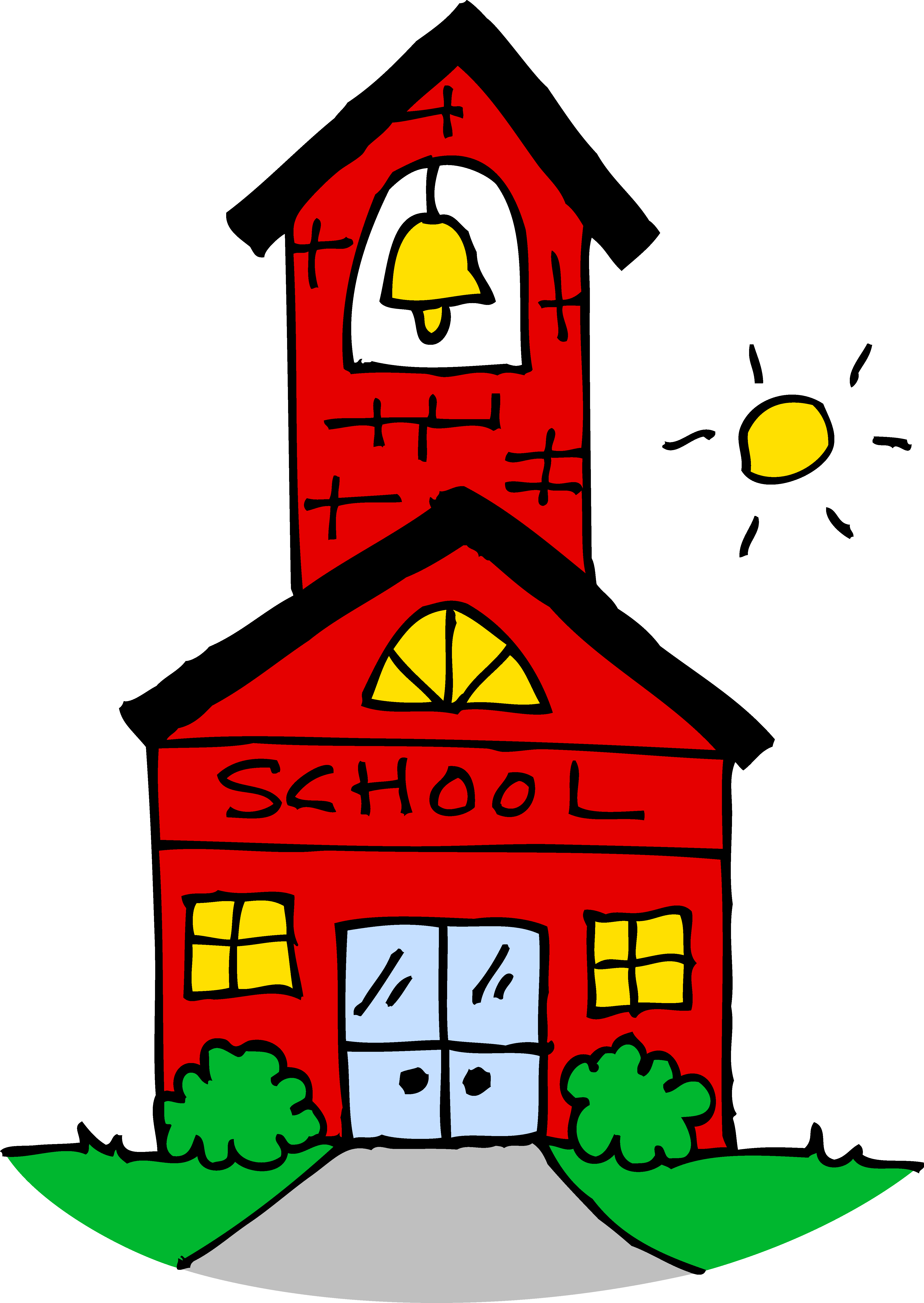 Cute School House Clipart - Free Clip Art