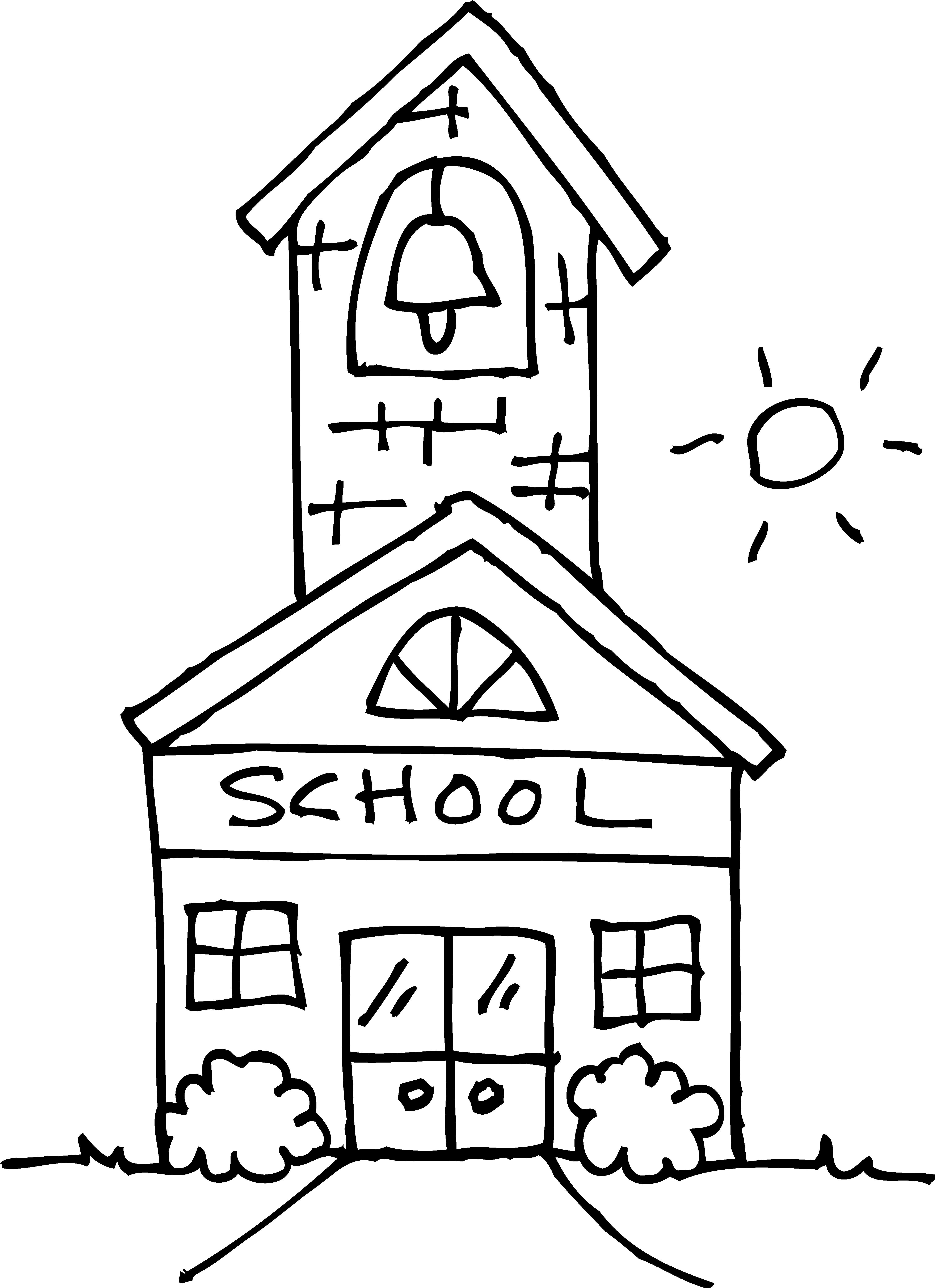 Cute Schoolhouse Coloring Page - Free Clip Art
