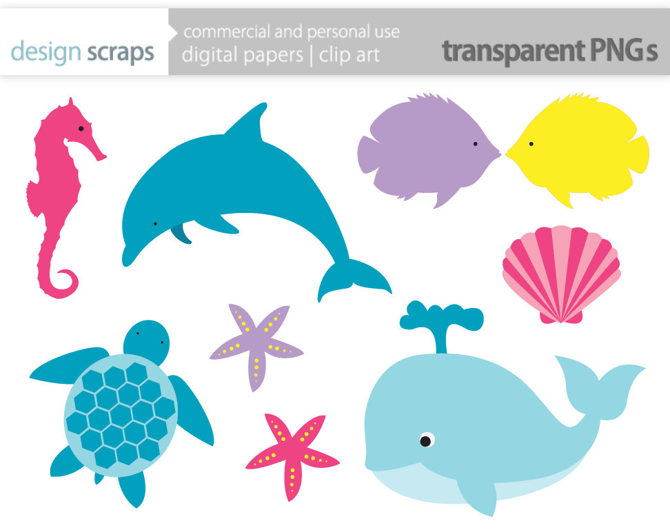 ocean animals clipart black a