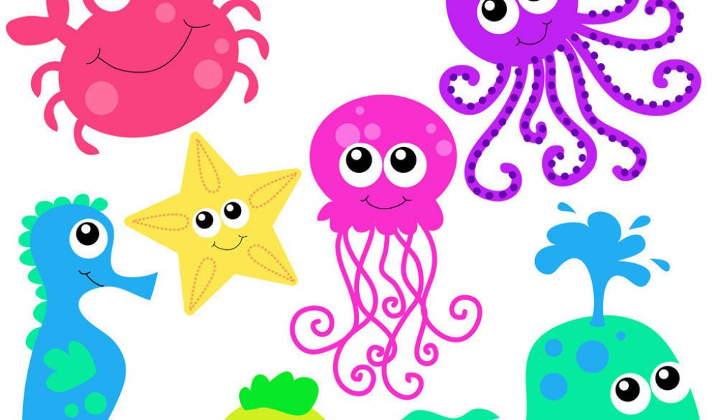 cute sea animals clip art .