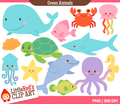 Cute Sea Animals Clipart. Pix For Clipart Ocean Animals Cute Sea