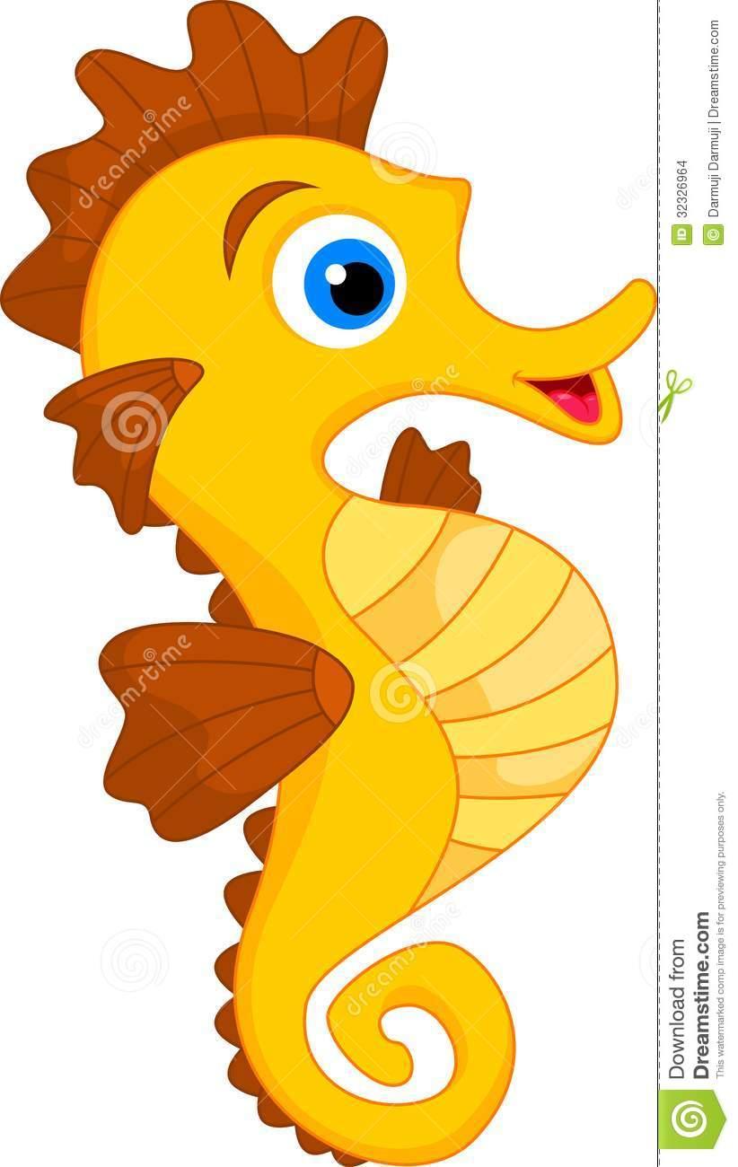 Cute Seahorse Cartoon .-Cute Seahorse Cartoon .-1