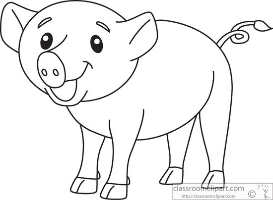 cute-smiling-pink-pig-clipart - Pig Clipart Black And White