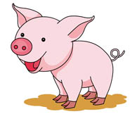 cute smiling pink pig. Size: 55 Kb
