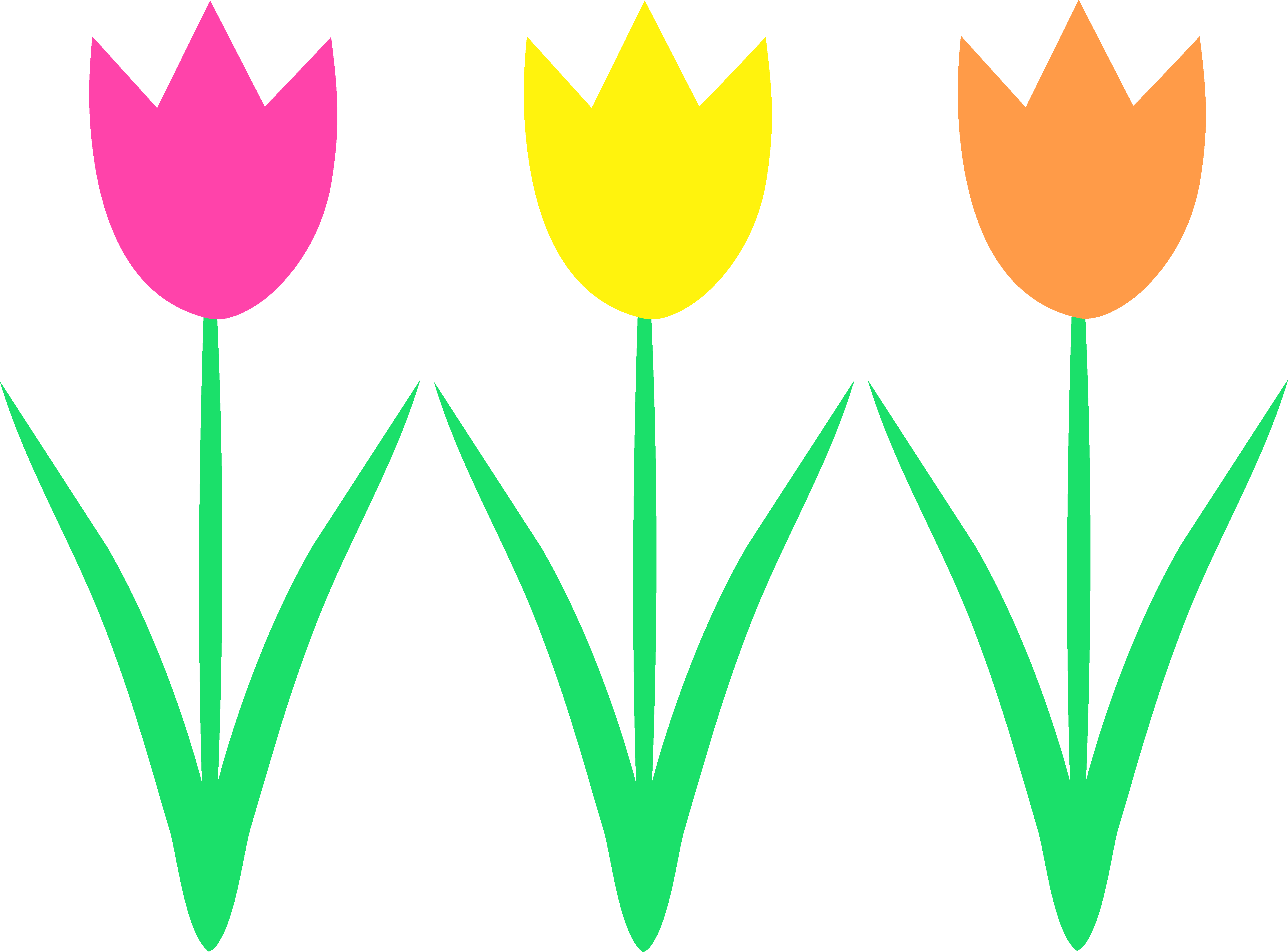 Cute Spring Tulips Design - Free Clip Art
