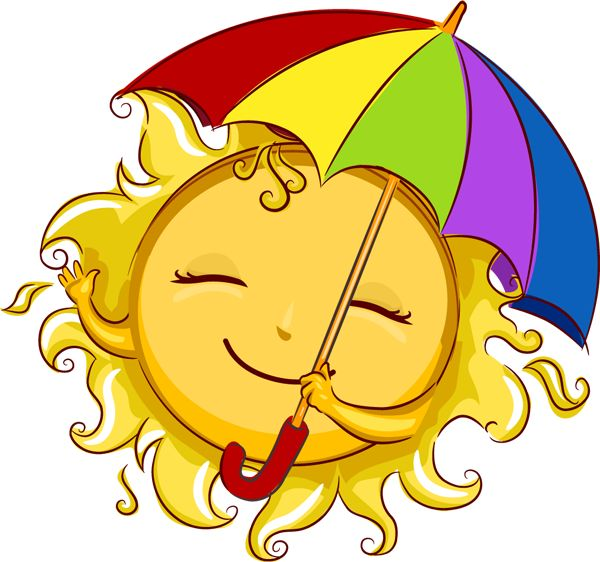 CUTE SUMMER SUN WITH ITu0026#39;S SUN-BRELLA CLIP ART