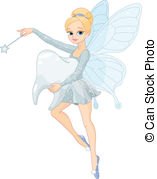 ... Cute Tooth Fairy flying with Tooth - Illustration of a cute.