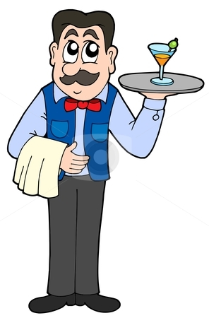 Cute Waiter With Drink Stock Vector Clipart Cute Waiter With Drink