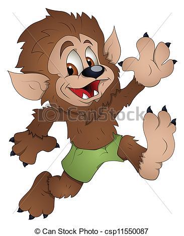 Cute Werewolf Cartoon .