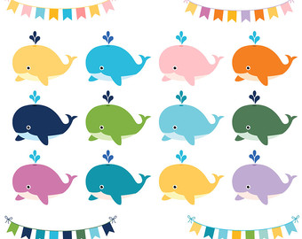 Cute whales clipart, Colorful whales clip art, Baby shower whale, Digital scrapbook whales, Whale graphics, Whale baby shower clipart