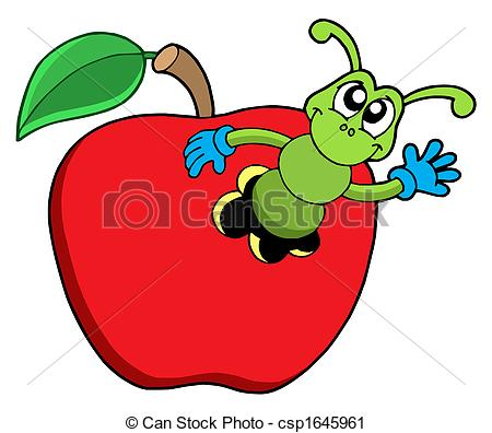 ... Cute worm in apple - isolated illustration. Cute worm in apple Clipartby ...