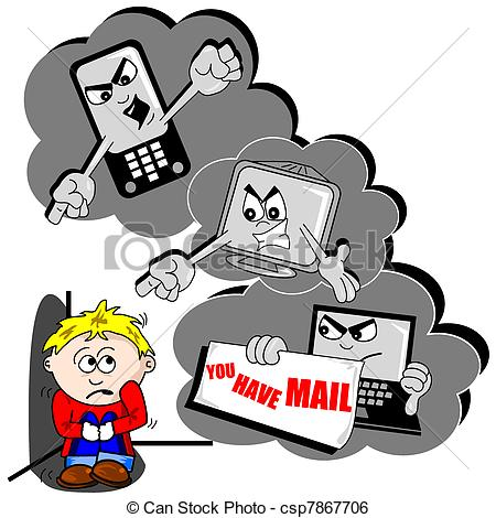 Cyber Bullying Cartoon With Scared Child-Cyber bullying cartoon with scared child mobile phone and PC-5