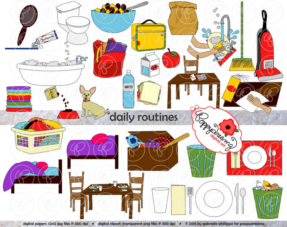 Daily Routines Clipart 300 Dpi Transparent Png By Poppydreamz