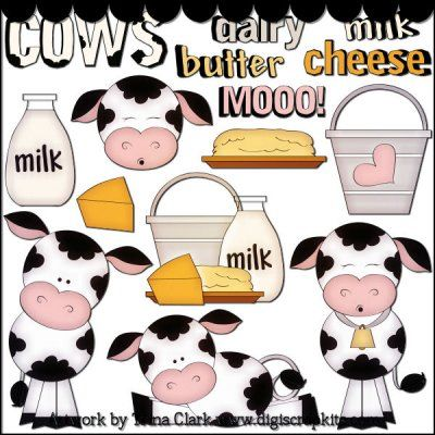 Dairy Cows 1 Clip Art - Original Artwork by Trina Clark