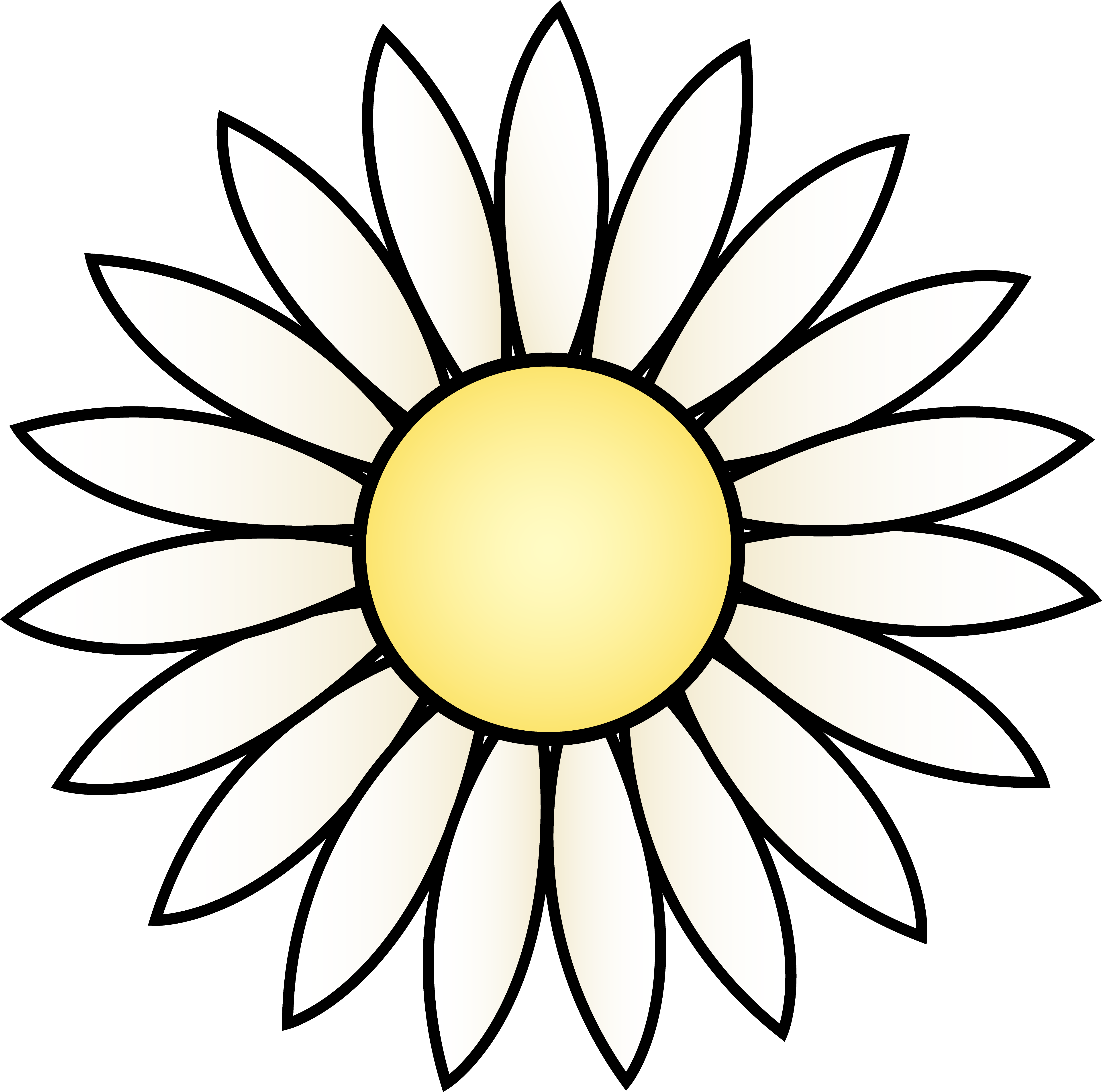 daisy clipart black and white