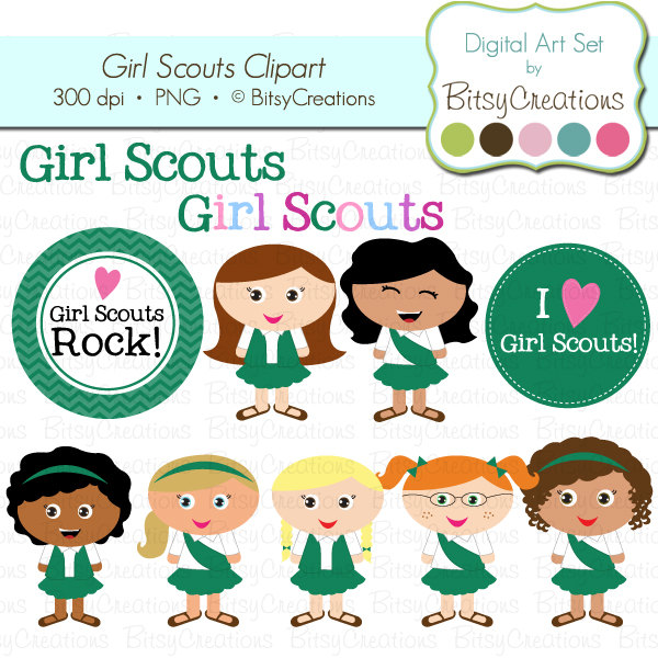 Daisy Girl Scout Clipart Black And White Girl Scouts Digital Art Set