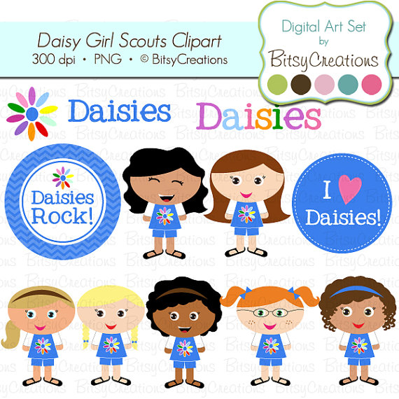 Daisy Girl Scouts Digital Art Set Clipart By Bitsycreations Commercial