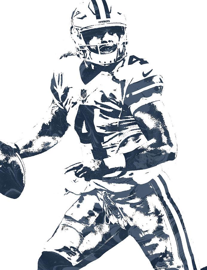 Cowboys Mixed Media - Dak Prescott Dalla-Cowboys Mixed Media - Dak Prescott Dallas Cowboys Pixel Art 3 by Joe  Hamilton-2